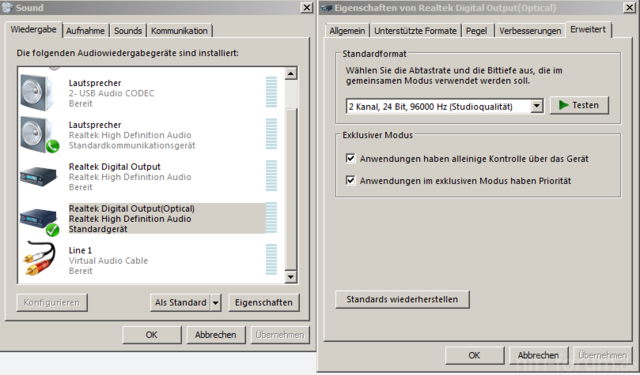 Soundeinstellungen Windows 7