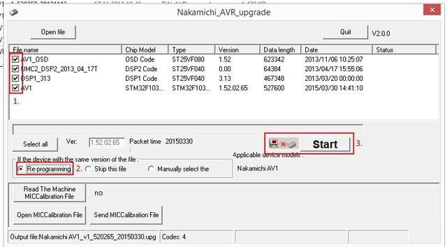 Naka AV1 65er FW Update