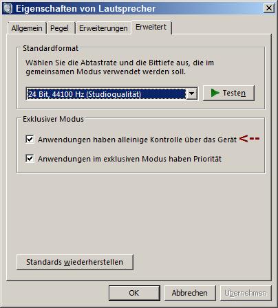 Win7 Eigenschaften LS exkl. Modus