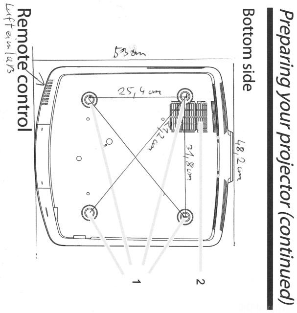 Ma?e F?r Die Deckenhalterung Des HC9000D