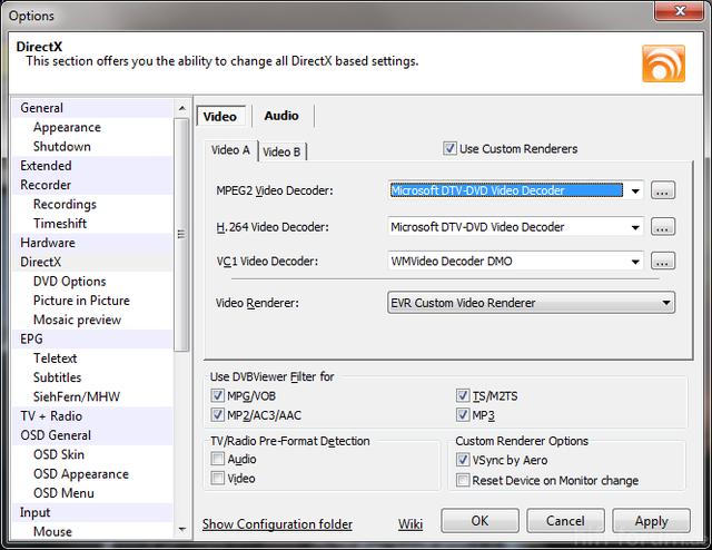 DVB Viewer 4.5.0.0 Codec Settings