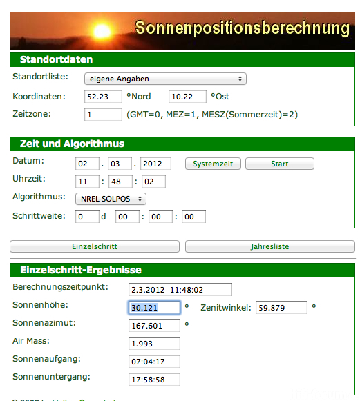 Sonnenstand Am 2.3.2012 (Sun Outage)
