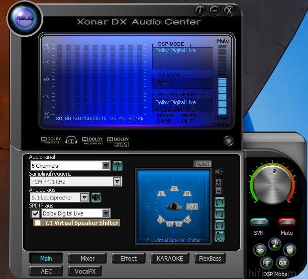 Einstellungen Xonar DX Dolby Digital über SPDIF
