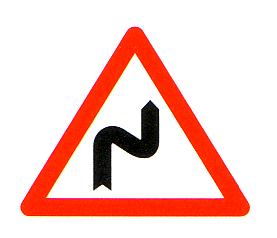 Gefahrsignal003 Achtung Kurven Beginnend M Rechtskurve