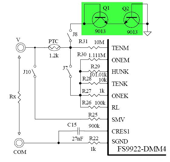 Schaltplan VC99 Widerstandmessung