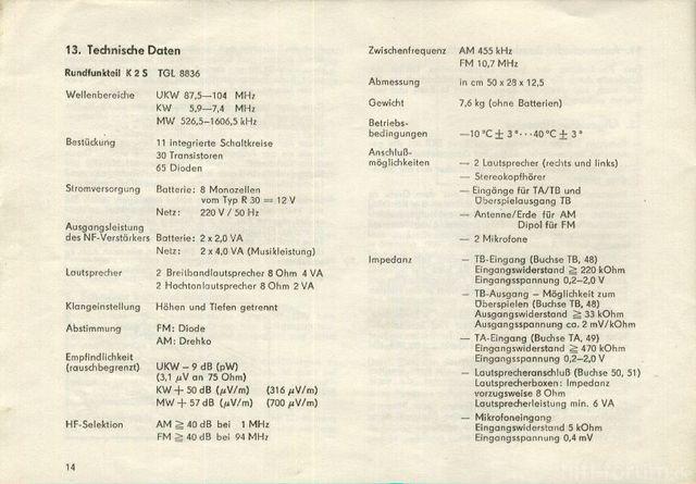 Elektro Bedienungsanleitung Kasetten Recorder SKR 501 Seite 14
