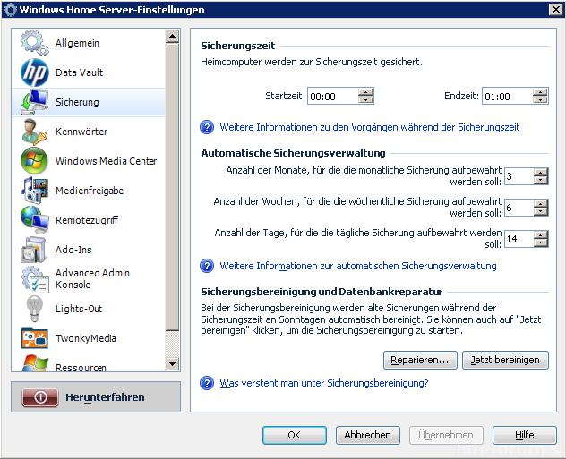 HP Data Vault X510 Einstellungen Sicherungen