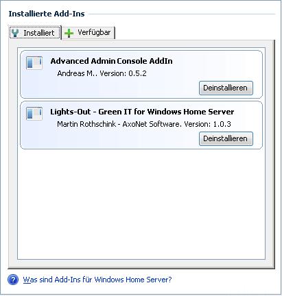 WHS Add-Ins Installiert Stand 02.10.2010
