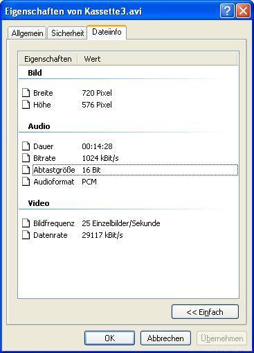 Dateiinfo Nach VirtualDub DirectStrem
