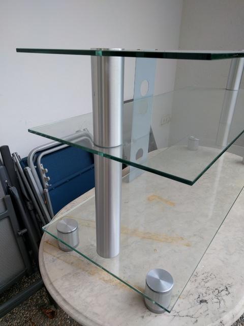 fernseh rack glas fernseh phono tv tisch hifi glas regal rack 55 cm i503 tv glas rack 110x115. Black Bedroom Furniture Sets. Home Design Ideas