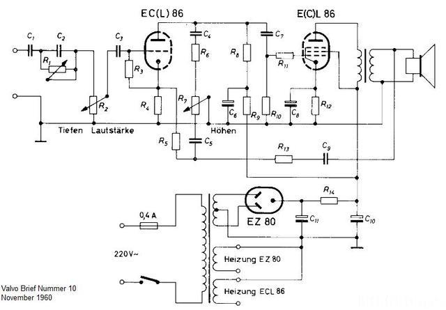 valvo brief ecl86 verstärker schaltplan