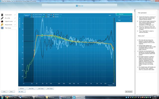 Wohnzimmer Dirac Live Bassanhebung inkl. Filterkurve.