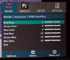Optoma HD70 Menu Image Advanced RGB