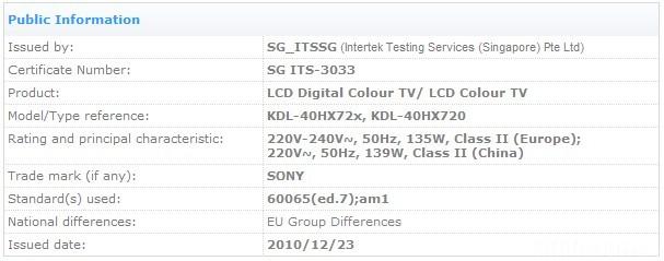 Sony Kdl-hx720