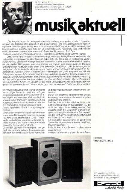 Summit Formel I Lautsprecher 1979