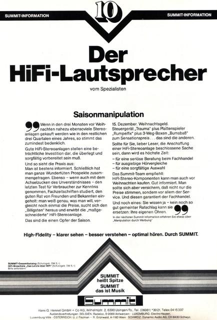 Summit Lautsprecher 1978