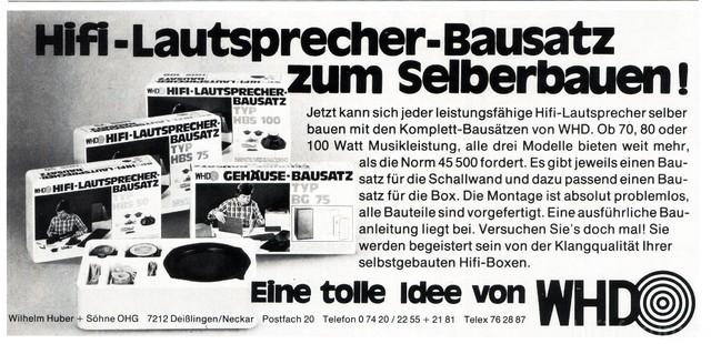 WHD Lautsprecher-Bausätze 1978