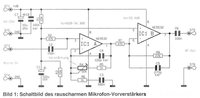 Schaltplan Mikrofonvorverstärker ELV