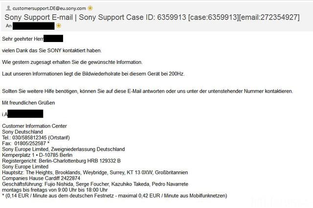 Sony 200Hz