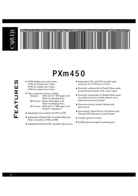 carver pxm450 225 watt 4 ohm stereo veranstaltungstechnik pa hifi forum. Black Bedroom Furniture Sets. Home Design Ideas
