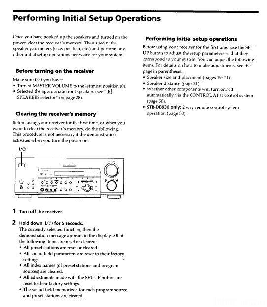 Sony-Receiver, STR-DB830, PROTECTOR  Im Display, Handbuch, Reset