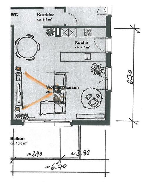 Grundriss vom Wohnzimmer