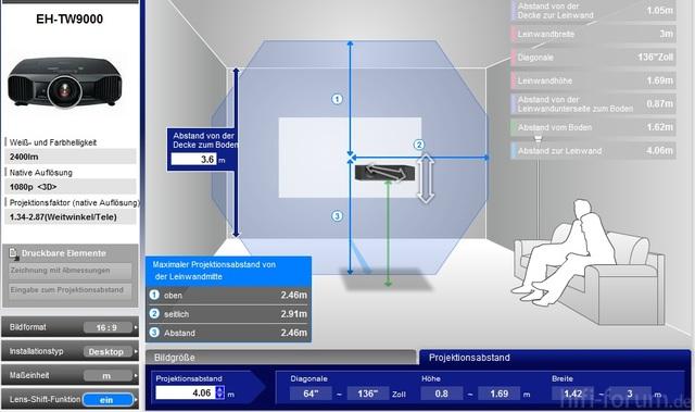 Lens-Shift Epson 9000