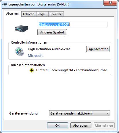 2 Sound Aufnahme Eigenschaften Allgemein