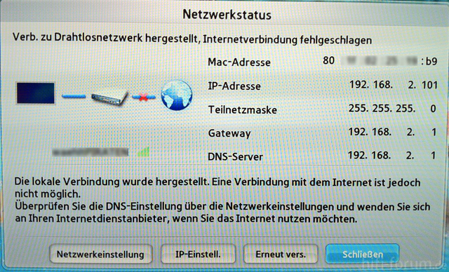 WLAN Netzwerk Selbsttest UE46D6200