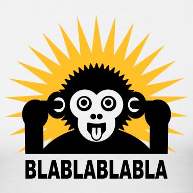 Weiss Blablablabla Affe Brabbelt Mit Finger Im Ohr Light Shirt T Shirts Design