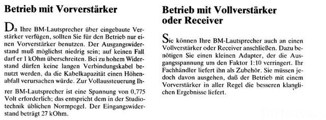 Anschluss Der BM6 An Einen Vor- Bzw. Vollverstärker