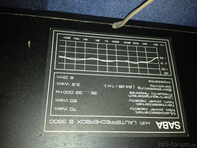 SABA B3800 Spezifikationen