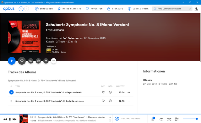 Schubert Sinfonie Nr. 8 Fritz Lehmann Berliner Philharmoniker
