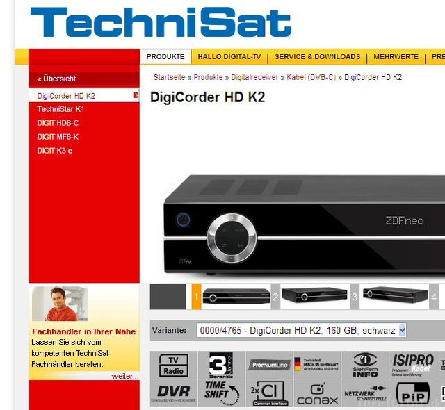 Technisat-Homepage (Ausschnitt)