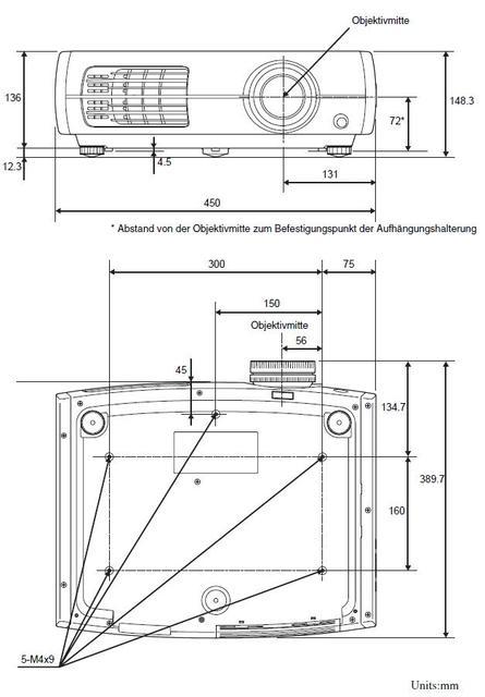 Maße Der EPSON 3x00 Serie