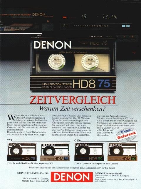 Werbung Für Denon Kassetten Aus Audio 11/88