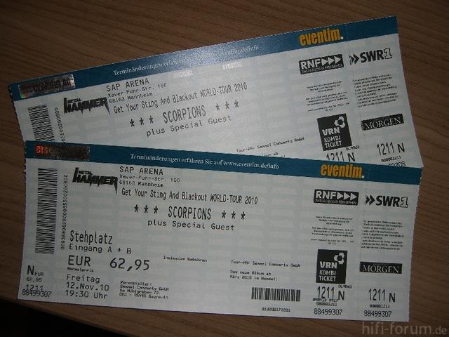2x Scorpions Konzertkarten Für 12.11.2010 In Der SAP Arena In Mannheim *AUSVERKAUFT*