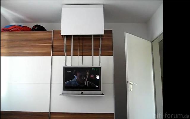 DIY TV Lift Auf Schrank On Cupboard  Offen