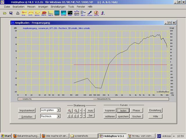 Weiche und Messungen am Hochtöner der Mirsch om 3-28