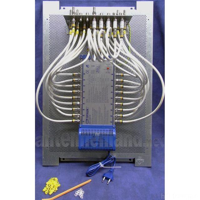 SAT Verteilung Mit Spaun SMS 51808 Fuer 18 Teilnehmer Komplett Vormontiert Im Montageschrank 60x40x2