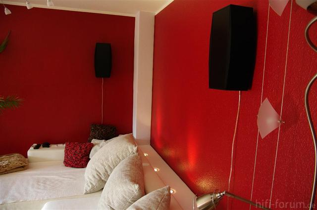 Bilder eurer wohn heimkino anlagen allgemeines hifi for Wand mit stoff bespannen