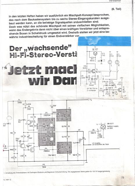 Plan Von E Scholz Und H Wollner  ELO Ausgabe 1978 Heft12
