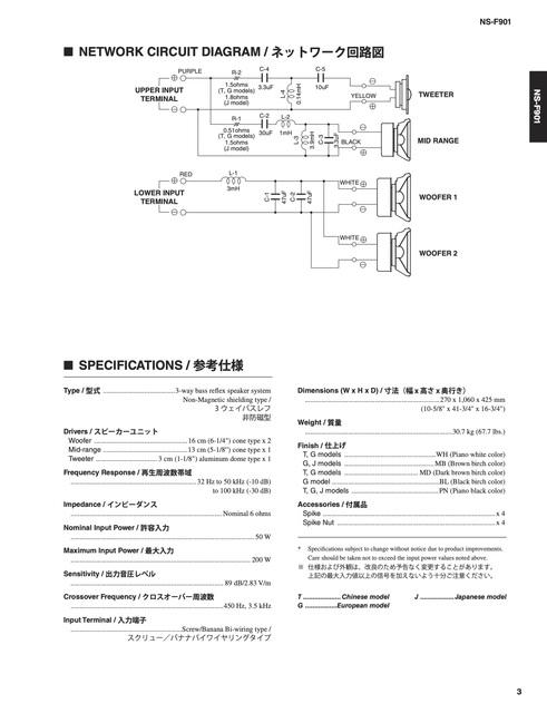 Frequenzweicheplan Yamaha Ns F901