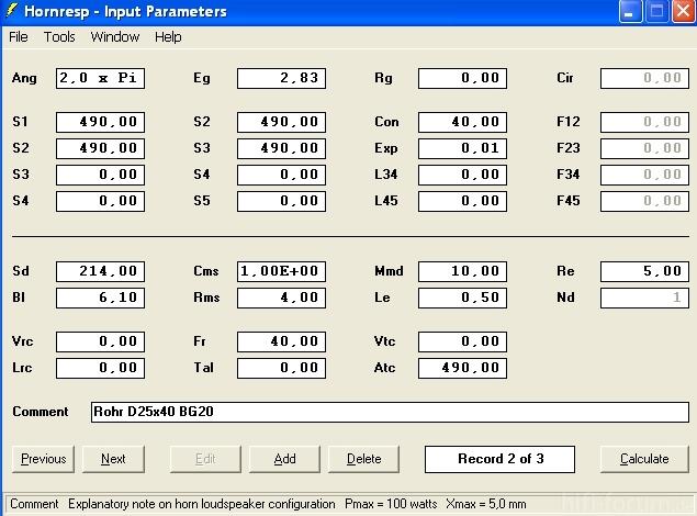 D25 X 40 Hornresp Input