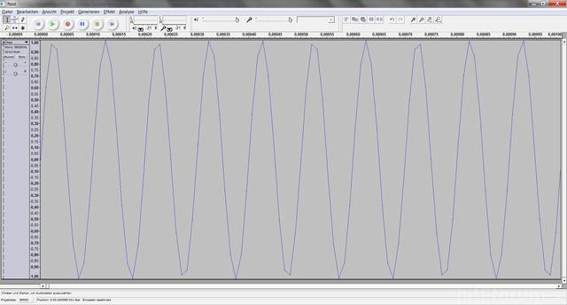 PCM-Beispiel, 10kHz Sinus, 1ms, Sampling-Rate 96kHz