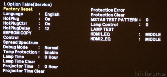 Samsung A600 - Service Menu - Option Table