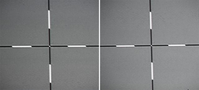 BenQ W1070+W - Screenshot Schärfe - linker Bildrand und Bildmitte - Fadenkreuze von links