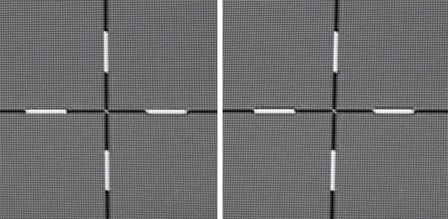 BenQ W11000 - Pixelauflösung - links linke Seite, rechts Bildmitte