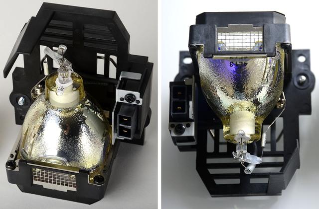 JVC vs Plagiat - links Original-JVC-Lampe, rechts Original-JVC.Ersatzlampe