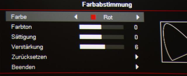 Optoma HD27 - Menü Farbabstimmung-Farbraum